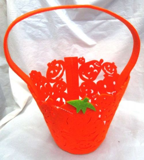 Halloween Trick or Treat Basket Candy Collect Pumpkin Shape